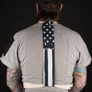 Black American Flag Apron Tie